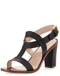 Sandalias de tacón de cuero gruesas negras de Sergio Rossi