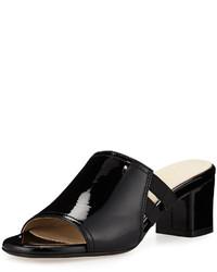 Sandalias de tacón de cuero gruesas negras de Taryn Rose
