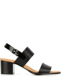 Sandalias de tacón de cuero gruesas negras de Veronique Branquinho