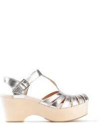 Sandalias de tacón de cuero gruesas plateadas