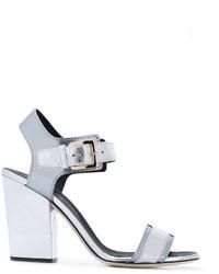 Sandalias de tacón de cuero gruesas plateadas de Sergio Rossi