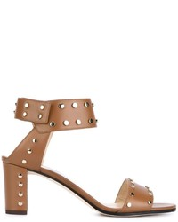 Sandalias de tacón de cuero marrón claro de Jimmy Choo