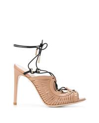 Sandalias de tacón de cuero marrón claro de Pollini