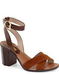 Sandalias de tacón de cuero marrónes de Louise et Cie