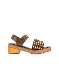 Sandalias de tacón de cuero marrónes de Marni