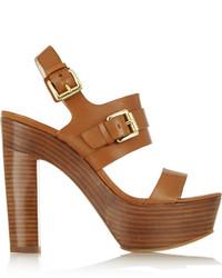 Sandalias de tacón de cuero marrónes de MICHAEL Michael Kors