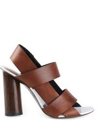 Sandalias de tacón de cuero marrónes de Proenza Schouler