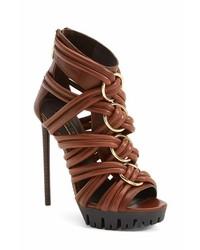 Sandalias de tacón de cuero marrónes de Rachel Zoe