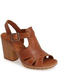 Sandalias de tacón de cuero marrónes de Timberland
