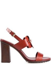 Sandalias de tacón de cuero marrónes de Tod's