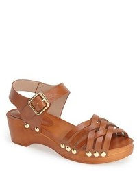 Sandalias de tacón de cuero marrónes de Topshop