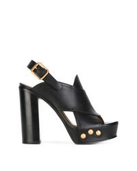 Sandalias de tacón de cuero negras de Chloé