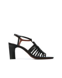 Sandalias de tacón de cuero negras de David Beauciel