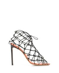 Sandalias de tacón de cuero negras de Francesco Russo