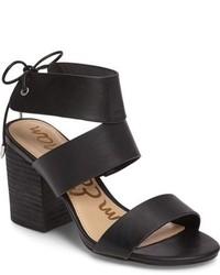 Sandalias de tacón de cuero negras de Sam Edelman