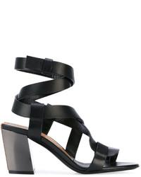 Sandalias de tacón de cuero negras de Tom Ford
