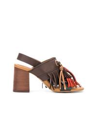 Sandalias de tacón de cuero сon flecos marrónes de See by Chloe