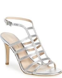 Sandalias de Tacón de Cuero Plateadas de Pelle Moda