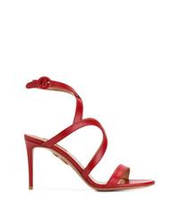 Sandalias de tacón de cuero rojas de Aquazzura