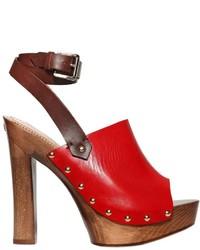 Sandalias de tacón de cuero rojas de Dsquared2