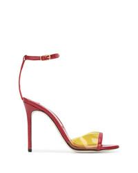 Sandalias de tacón de cuero rojas de Marskinryyppy