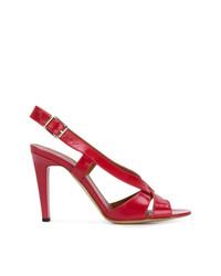 Sandalias de tacón de cuero rojas de Michel Vivien