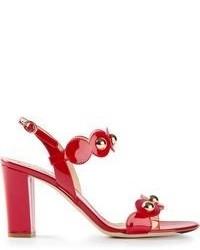 Sandalias de tacón de cuero rojas de Moschino