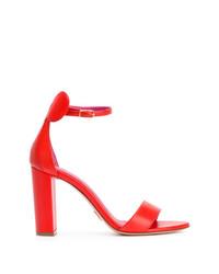 Sandalias de tacón de cuero rojas de Oscar Tiye