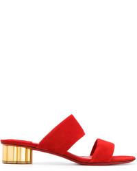 Sandalias de tacón de cuero rojas de Salvatore Ferragamo