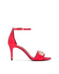 Sandalias de tacón de cuero rojas de Stella Luna