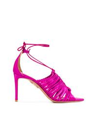 Sandalias de tacón de cuero rosa de Aquazzura