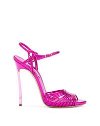 Sandalias de tacón de cuero rosa de Casadei