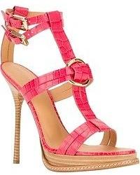 Sandalias de tacón de cuero rosa de Dsquared2