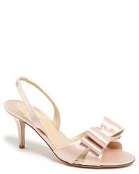 Sandalias de tacón de cuero rosadas