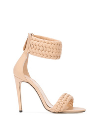 Sandalias de tacón de cuero rosadas de Altuzarra