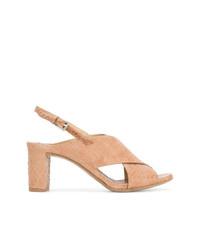Sandalias de tacón de cuero rosadas de Del Carlo