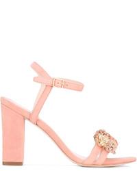 Sandalias de tacón de cuero rosadas de Loeffler Randall