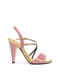 Sandalias de tacón de cuero rosadas de N°21