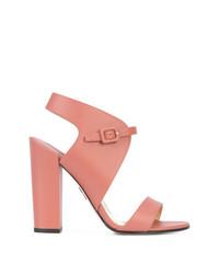 Sandalias de tacón de cuero rosadas de Paul Andrew