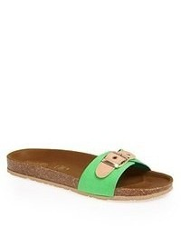 Sandalias de tacón de cuero verdes de Seychelles