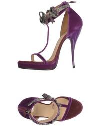 Sandalias de tacón de terciopelo morado oscuro