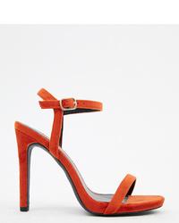 Sandalias de tacón de terciopelo rojas