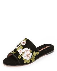Sandalias planas bordadas negras de Rochas