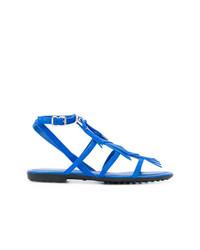 Sandalias planas de ante azules de Tod's
