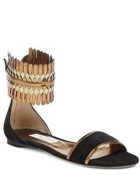Sandalias planas de ante сon flecos negras de Jimmy Choo