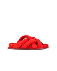 Sandalias planas de ante rojas de Proenza Schouler