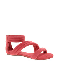 Sandalias planas de ante rosa