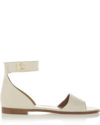 Sandalias planas de cuero blancas de Givenchy
