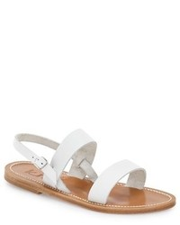 Sandalias planas de cuero blancas de K Jacques St Tropez