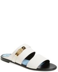 Sandalias planas de cuero blancas de Lanvin